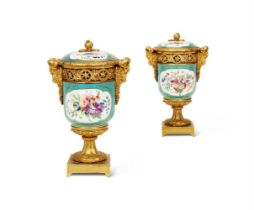 A PAIR OF ORMOLU MOUNTED SÈVRES STYLE POT-POURRI VASES AND COVERS