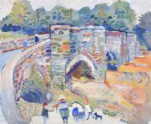 λ FRED YATES (BRITISH 1922-2008), FIGURES BY A BRIDGE