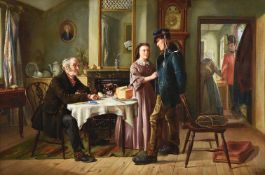 CHARLES HUNT (BRITISH 1829-1900) THE SOLDIER'S DEPARTURE