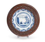 A DUTCH DELFT MARRIAGE PLATE, LATE 18TH CENTURY DATED