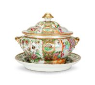 A CHINESE CANTON FAMILLE-ROSE OVAL TUREEN COVER AND STAND