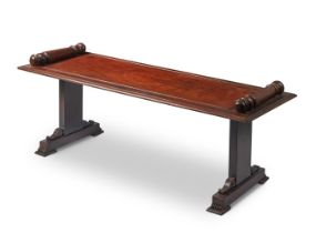 TWO SIMILAR MAHOGANY HALL BENCHES, IN EARLY VICTORIAN STYLE
