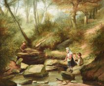 CHARLES HUNT (BRITISH 1829-1900), CHILDREN BY A STREAM