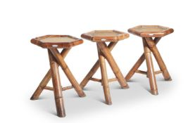 A SET OF THREE FRENCH BAMBOO CONSERVATORY TABLES