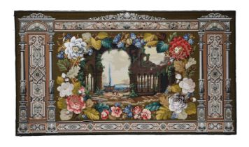 A VICTORIAN WOOLWORK AND BEADWORK WALL PANEL