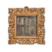 AN ITALIAN CARVED GILTWOOD WALL MIRROR, LATE 19TH CENTURY