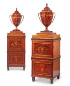 A PAIR OF GEORGE III MAHOGANY, SATINWOOD, AND INLAID DINING ROOM PEDESTALS