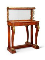 Y A REGENCY AMBOYNA, ROSEWOOD CROSSBANDED AND GILT-METAL MOUNTED PIER TABLE