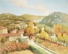 """λ MARCEL DYF (FRENCH 1899-1985), """"VILLAGE DE LAROQUE"""" (LANGUEDOC ROUSSILLON, FRANCE)"""
