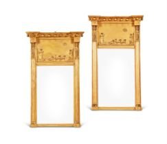 A PAIR OF REGENCY STYLE GILT PAINTED SMALL PIER MIRRORS