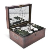 Y A VICTORIAN ROSEWOOD TOILET BOX WITH SILVER AND GLASS FITTINGS BY FRANCES DOUGLAS