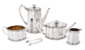 Y A VICTORIAN SILVER SHAPED OVAL FOUR PIECE TEA AND COFFEE SERVICE