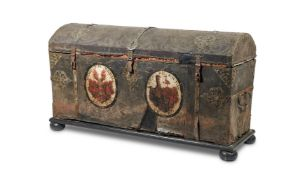 A PAIR OF GERMAN IRON MOUNTED LEATHER CHESTS, LATE 17TH CENTURY