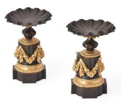 A PAIR OF BRONZE AND ORMOLU PEDESTALS, 19TH CENTURY