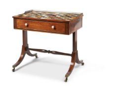 Y A REGENCY MAHOGANY AND SPECIMEN MARBLE TOPPED WRITING TABLE