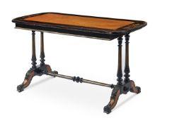 A VICTORIAN COROMANDEL, MAPLE AND EBONISED CENTRE TABLE