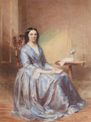 ENGLISH SCHOOL (19TH CENTURY), PORTRAIT OF A LADY, SEATED IN AN INTERIOR: PORTRAIT OF A GENTLEMAN