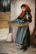 AUGUSTUS EDWIN MULREADY (BRITISH 1844-1905), AN EYE TO AN EXPECTED BUYER; A LONDON NEWS BOY