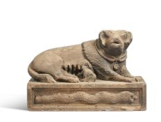 A RARE GRITSTONE MODEL OF THE CAPTOLINE WOLF, 17TH CENTURY