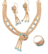 A suite of reconstituted turquoise jewellery