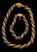 A ropetwist chain necklace and bracelet