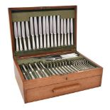 An electro-plated Hanoverian pattern table service for twelve place settings by Asprey