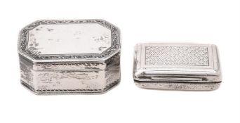 A George III silver octagonal snuff box by Susannah Barker
