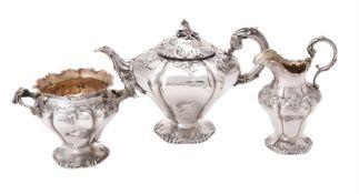 Y A William IV silver three piece lobed circular tea set by Charles Fox II