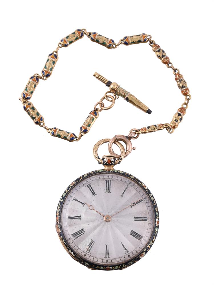 Unsigned, Gold coloured and enamelled slimline pocket watch