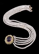 A diamond, amethyst and cultured pearl necklace