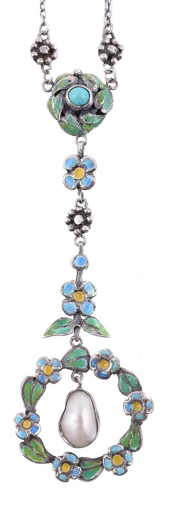 A silver Arts and Crafts enamel and blister pearl pendant necklace