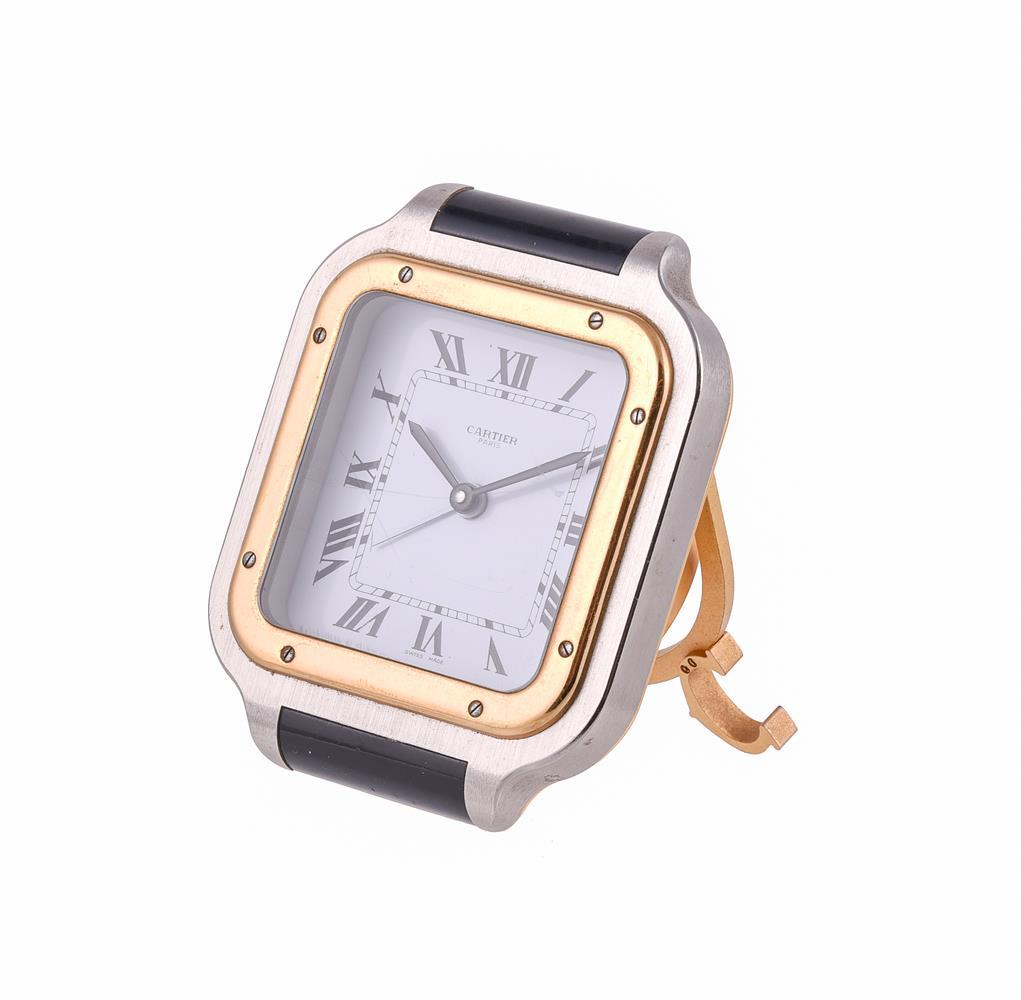 Must de Cartier, Santos, Ref. 7508, Bi-colour travel alarm clock