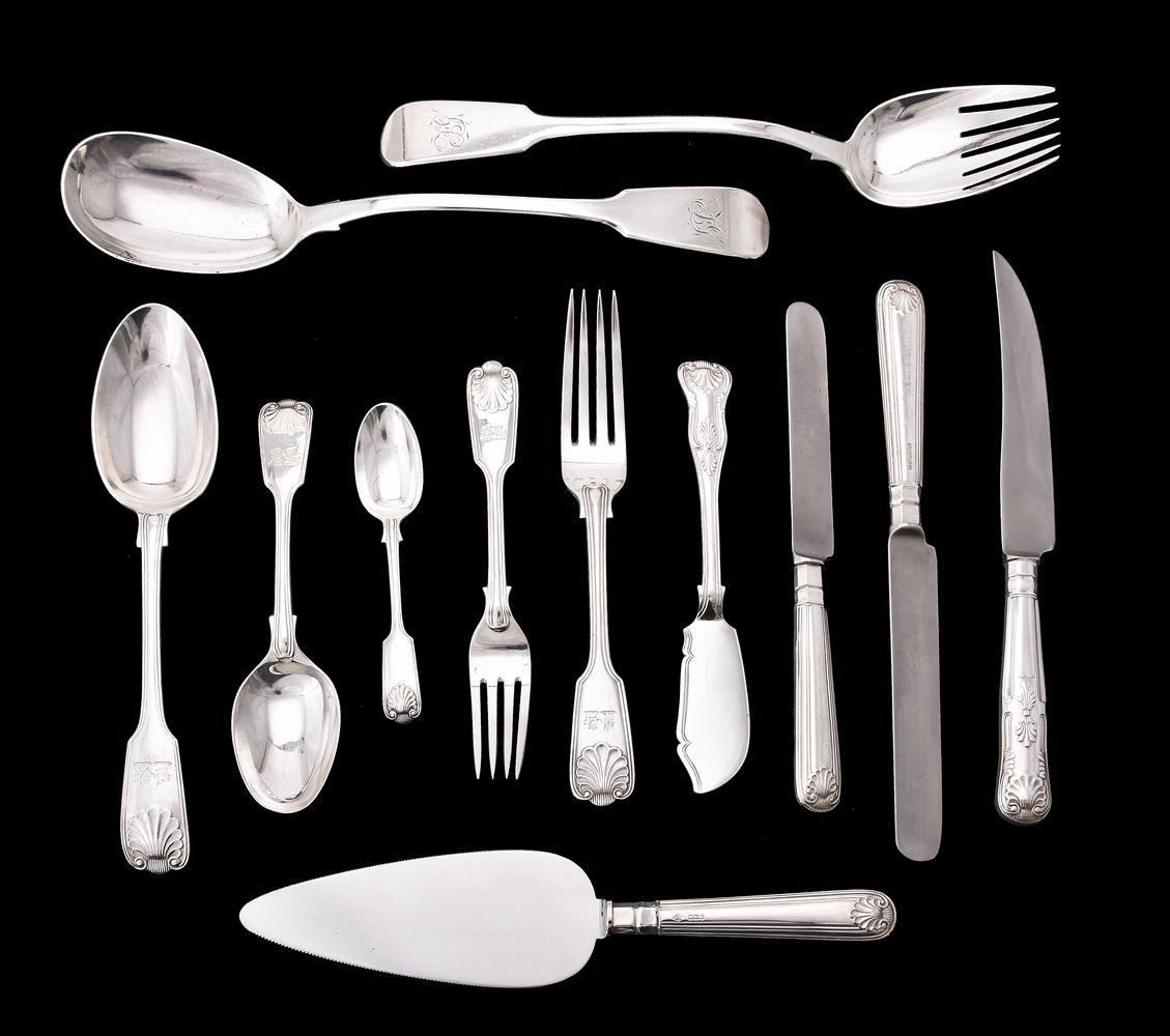 A collection of silver fiddle, shell and thread pattern flatware