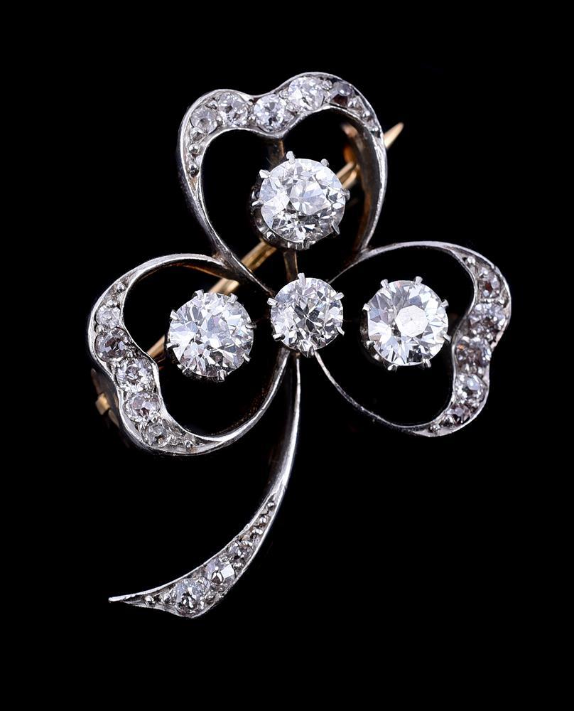 An Edwardian diamond clover leaf brooch