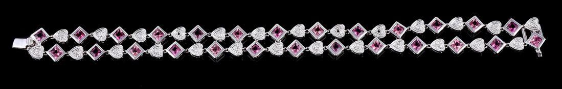 A diamond and pink tourmaline bracelet