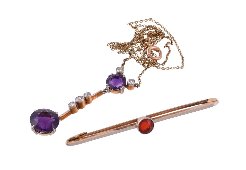 An Edwardian amethyst and diamond pendant
