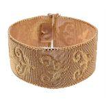 A 1960s broad mesh link bracelet