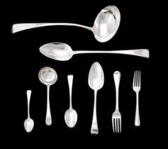 A collection of George III silver feather edge pattern flatware