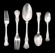 A Victorian silver King's pattern part table service for six place settings by George Adams