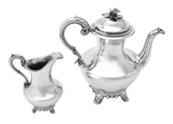 Y An early Victorian silver baluster coffee pot and cream jug by Charles Fox II