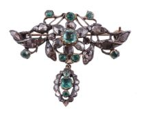 A late 18th century Iberian diamond and emerald brooch