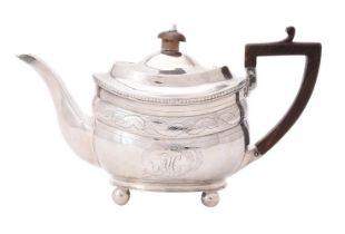 A George III silver oval tea pot
