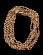 A gold coloured long chain