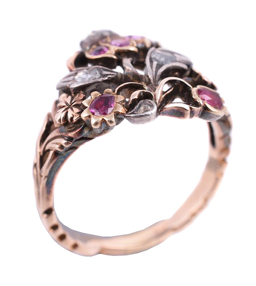 An early 20th century ruby and diamond giardinetti ring