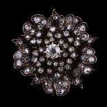 A late 19th century French diamond flower head brooch