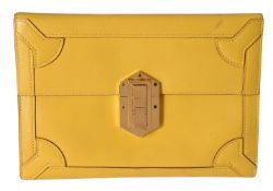 Hermes, a yellow leather clutch bag
