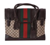 Gucci, a leather and canvas handbag