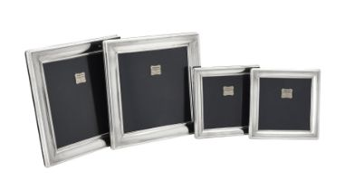 Four silver mounted square photo frames