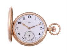 J. W. Benson, London, 9 carat gold keyless wind full hunter pocket watch
