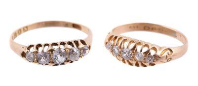 An 18 carat gold Victorian five stone diamond ring